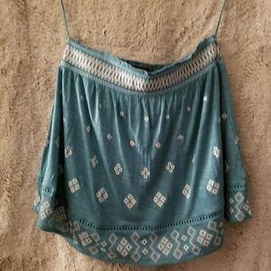 NWOT Aero teal with print mini skirt